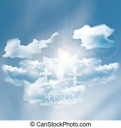 He is risen, vector Easter illustration with transparency...