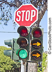 Road sign quot;stopquot; and traffic lights - Road sign stop...