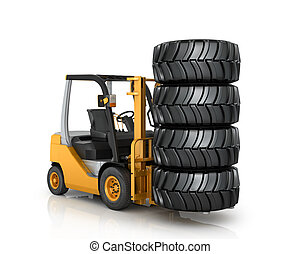 Forklift with automobile wheels  on a white background.