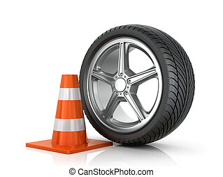 Car wheel road saber on a white background.
