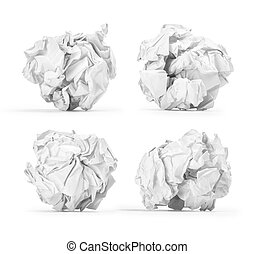 set crumpled into a ball of paper on an isolated white background