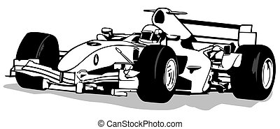 Formula One - Driver And Racing Car Illustration, Vector