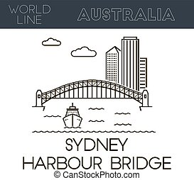 Sydney Harbour Bridge, Australia famous place Line style