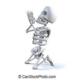 3d Skeleton is praying on his knees - 3d render of a...