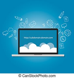 domain subdomain name com illustration internet address...