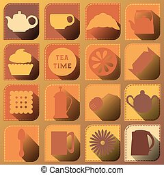 Set of 16 icons Tea time Brown tones Shadow