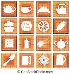 Set of 16 icons Tea time In square - Set of 16 icons Tea...