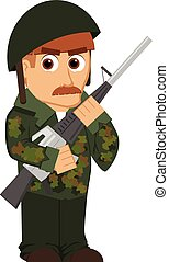 isolated cartoon soldier