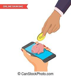 Online banking illustration - Online mobile banking...