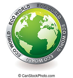 green icon eco earth globe - green earth globe icon with...