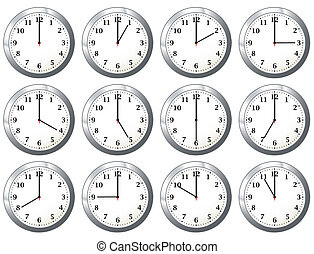 office clock all times - Office wall clock with full days...