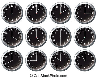 office clock black all times