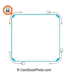 Vector blue box to fill your text and padlock