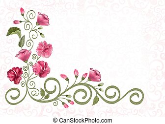 background with floral pattern - blurred beige background...