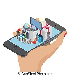 online shopping concept - Woman hand with mobile phone....