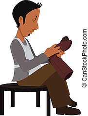 isolated cartoon shoemaker checking his work
