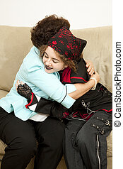 Family Love - Goth teen girl gives her mother a hug bandana...
