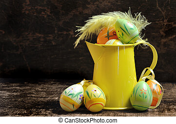 easter eggs with watering can