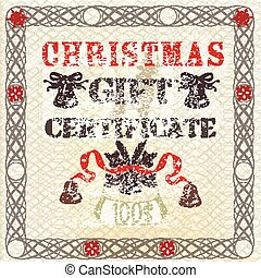 Christmas gift certificate in vintage grunge style.