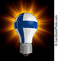 Light bulb with Finnish flag Image with clipping path