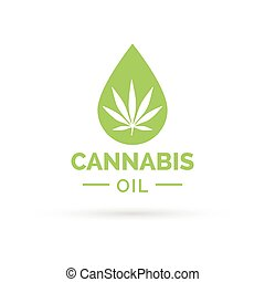 Cannabis oil icon with Marijuana leaf and oil drop symbol -...