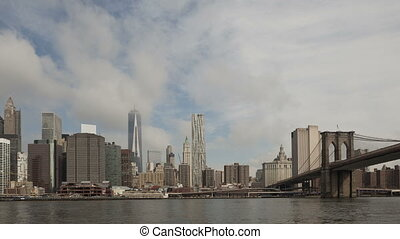 4K Time lapse zoom out Manhattan skyline with World Trade...