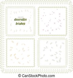 Vector set of floral and abstract decorative brushes. All used pattern brushes are included in brush palette.