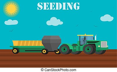 Agriculture design concept - seed planting process using a...