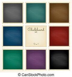 Colorful chalkboard with frame set. 9 in 1. Design template.