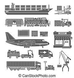 Cargo Transport and Packaging Icon Set such as Truck, Plane,...