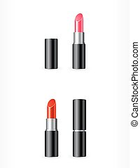 isolated red and pink lipstick - set of isolated red and...