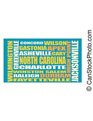 North Carolina state cities list - Image relative to USA...