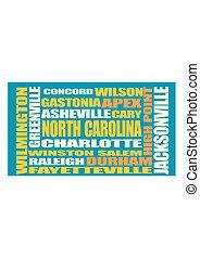 North Carolina state cities list - Image relative to USA...