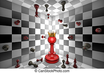 Chess Messiah - Big red pawn and a golden crown Closed chess...