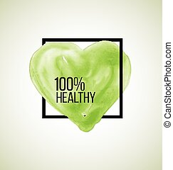 Modern healthy label watercolor heart