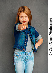 You did it! Beautiful littlegirl pointing you and looking at...