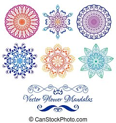 Vector Color Floral Mandala isolated on white - Set from...