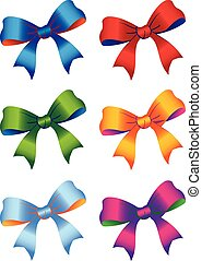 six colored bow ribbons - Vector illustration of a six...
