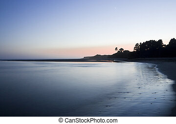 Silhouetted Trees on a Beach at Sunset - Scenic of...