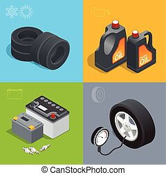 Tire service car auto, repair icons flat set isolated vector...