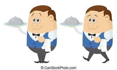 Waiter with Tray, Seamless Loop - Fullhd 1920x1080...