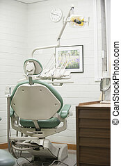 Dentist Chair - View of a dentist check up room with the...