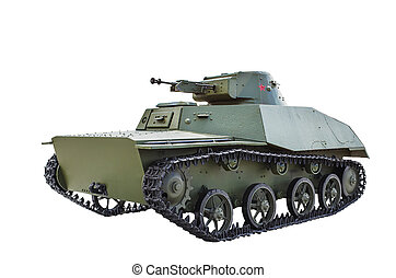 Soviet light amphibious tank T-40. Isolated on white...