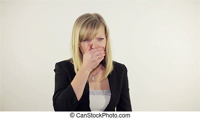 woman's as she's coughing. Full HD