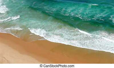 Blue waves Atlantic Ocean to shore - Colorful blue waves of...
