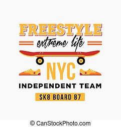 skateboard graphic design for t-shirt NYC independent team -...