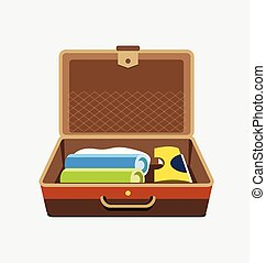 Packed suitcase for summer holiday - vector isolated illustration