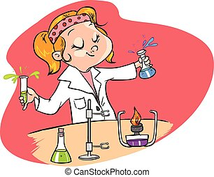 red background vector illustration of a cute young scientist...