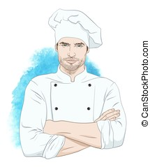 Handsome man chef vector illustrati - Cheerful handsome man...