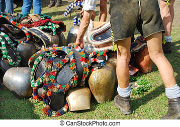 cowbells - cattle market with cowbells and farmers